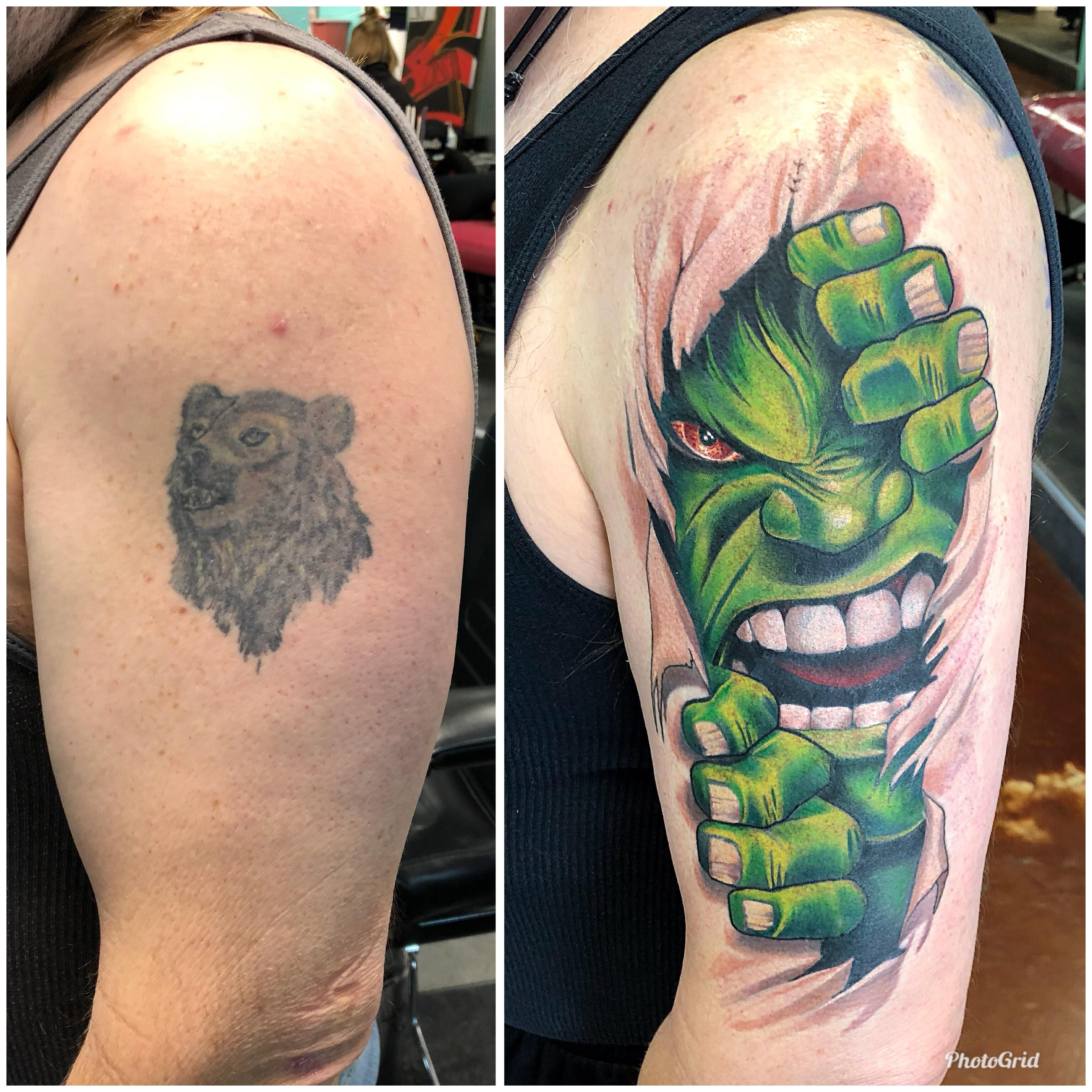 Hulk Coverup Tattoo Done By Paul Berkey At Dela Ink Denver Colorado Hulk Tattoo Tattoos Cover Up Tattoo