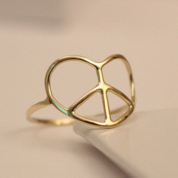 14k Peace Sign Ring 14k Peace Ring 14k Thumb Ring Peace Ring By