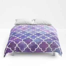 Purples & Pinks Watercolor Moroccan Pattern Comforters ...