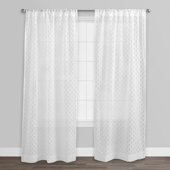White Fan Burnout Sheer Curtains Set Of 2
