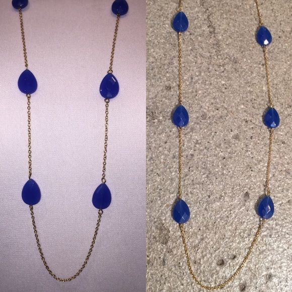 """Long Necklace With """"Sapphire"""" spaced stones. Sapphire colored """"Stones"""". Length 35 1/4"""", with 3"""" extender. Made in USA. Great to add color to any outfit! Jewelry Necklaces"""