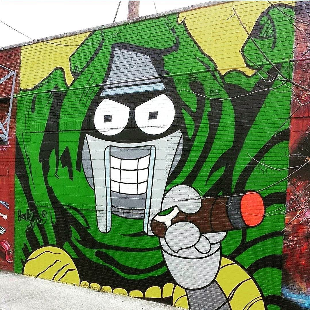 "ghettacards: ""This is how I feel like most Sunday nights...that is until I start making my lunch for Monday...then it's just tears. One of my favourite artists JERKFACE with a MF Doom Bender. #jerkface @incarceratedjerkfaces #bushwick #brooklyn #nyc #streetart #wallart #popart #spraypaint #graffiti #art #artist #sunday #love #loveit #futurama #mfdoom #funny #instagood #instamood #instalike #instadaily #ghettacards #picoftheday #photooftheday #cartoons #cool"""