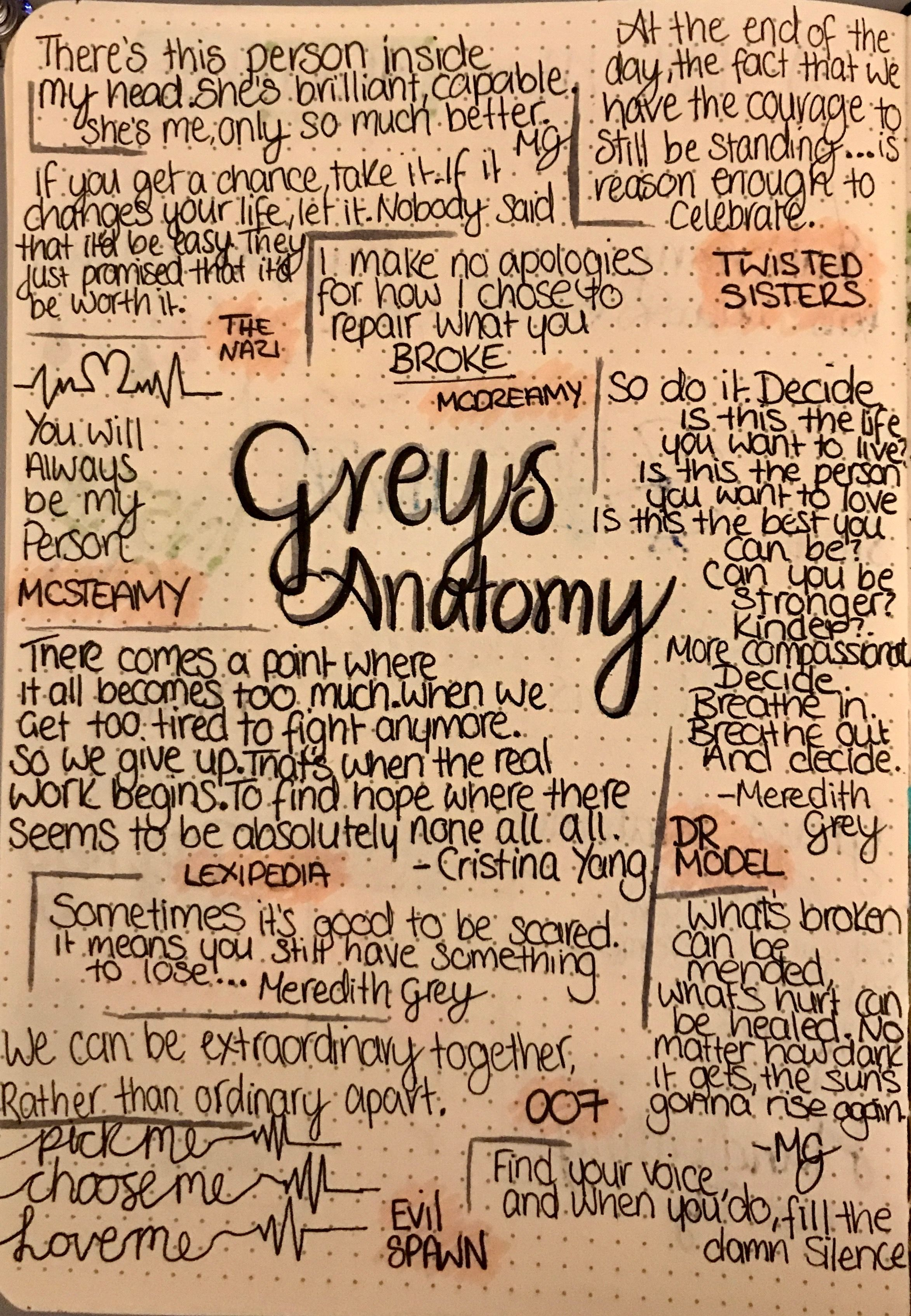 Greys anatomy quotes bullet journal | grey\'s | Pinterest | Grey\'s ...