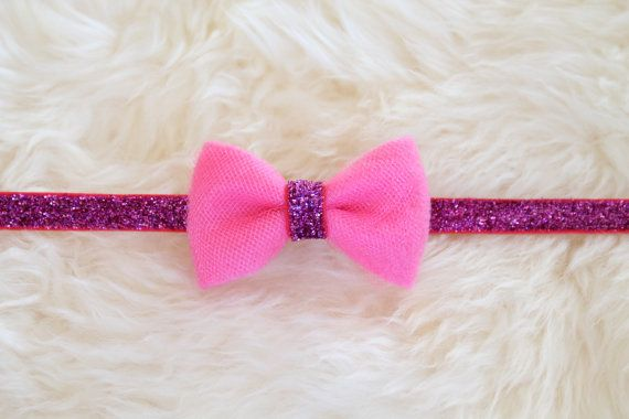 Girly Pink Felt and Tulle Glitter Headband by sparkleandspiceshop