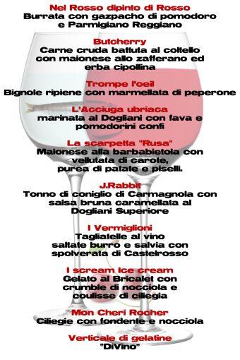 menu rosso dipinto di rosso