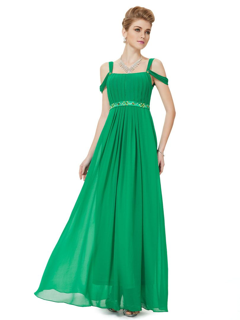 Green Shoulder Strap Jewel Waist Pleated Maxi Dress | Clothes I want ...