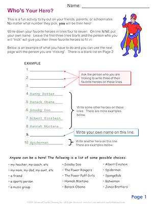 English Exercises: Who is your hero?