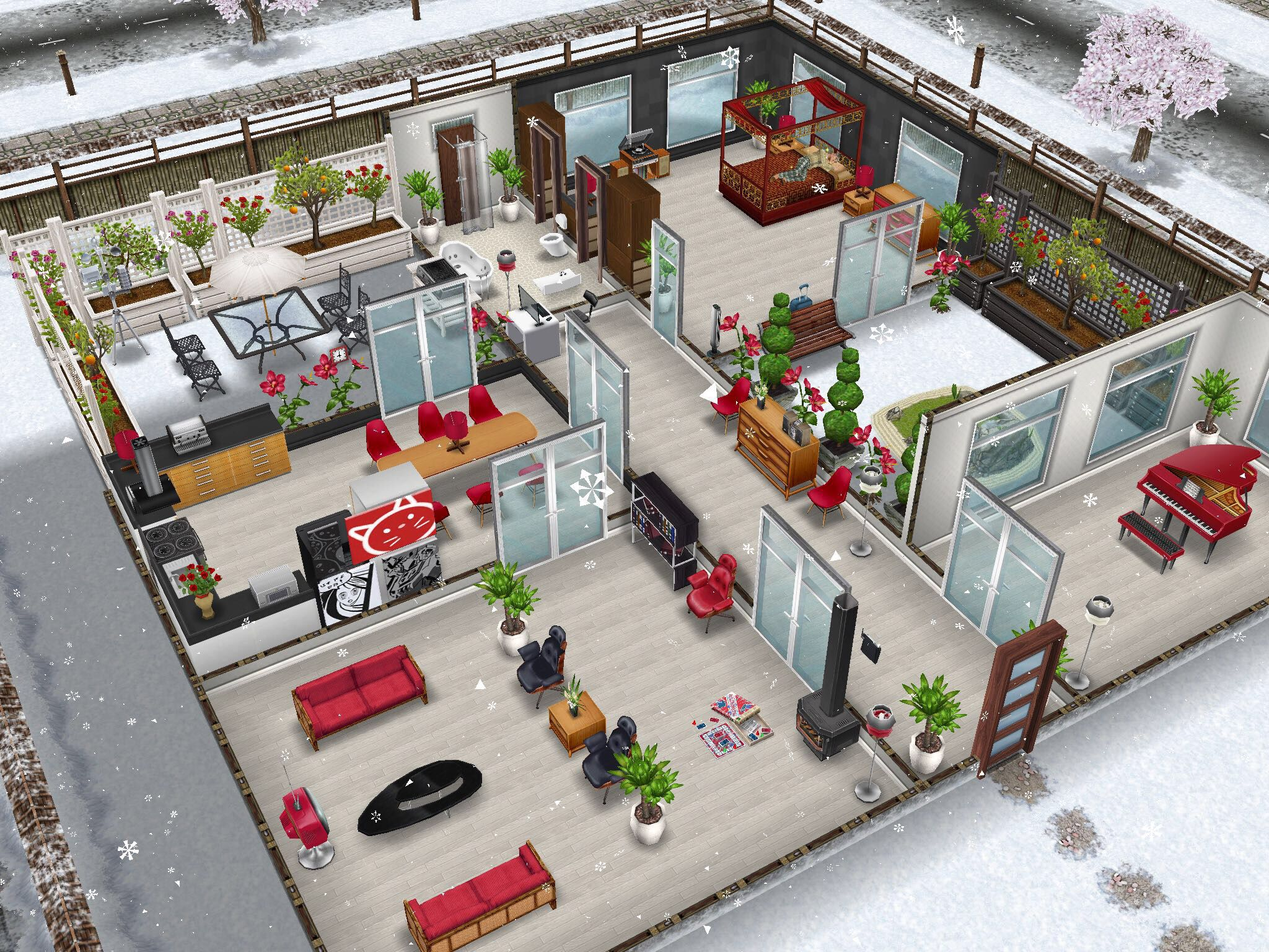 House design the sims freeplay - Sims Freeplay House Design With Red Furniture