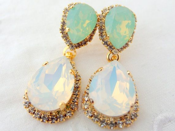 White Opal And Mint Chandelier Earrings Bridal Dangle Drop Weddings Jewelry Swarovski On Etsy 84 00