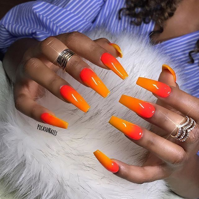 Orange And Red Ombre Nails Red Ombre Nails Orange Ombre Nails Orange Acrylic Nails
