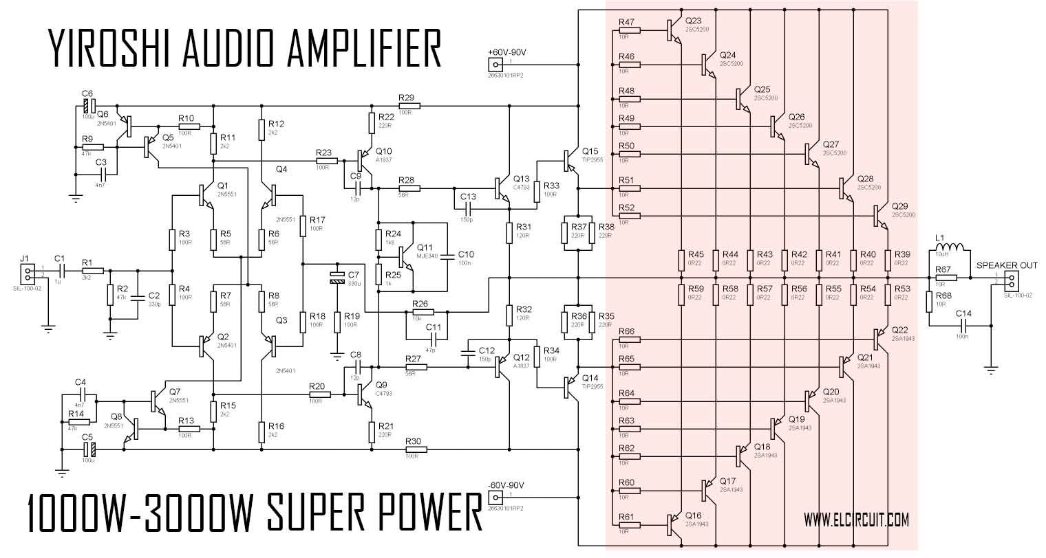 100w subwoofer amplifier circuit diagram white rodgers wiring super power yiroshi audio 1000 watt ampli