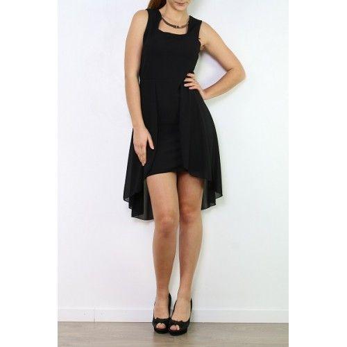 Vestido negro floreado con cola