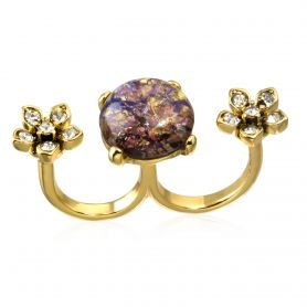Amethyst Opal and Crystal Flower Double Ringclose by: CAPWELL @Capwell.com