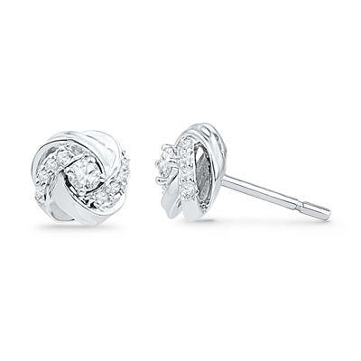 T W Diamond Love Knot Stud Earrings In 10k White Gold