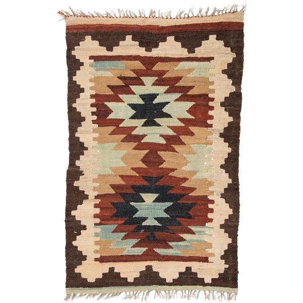 Pre Owned Geometric Flatweave Rug 4 9 X 3 155 Cad Liked On Polyvore Featuring Home Rugs Blue Second Hand Flat Weave
