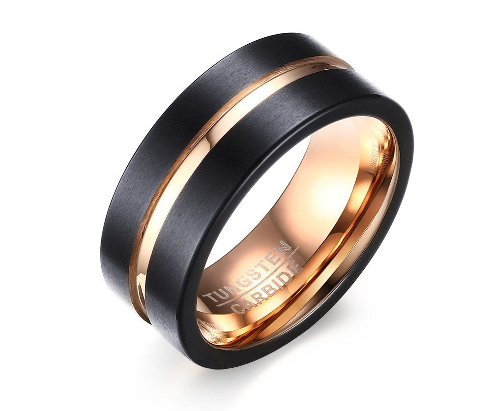 Mealguet Jewelry Personalized Brushed Finish Tungsten Carbide Two-Tone Black Gold Wedding Engagement Promise Ring Bands for Men