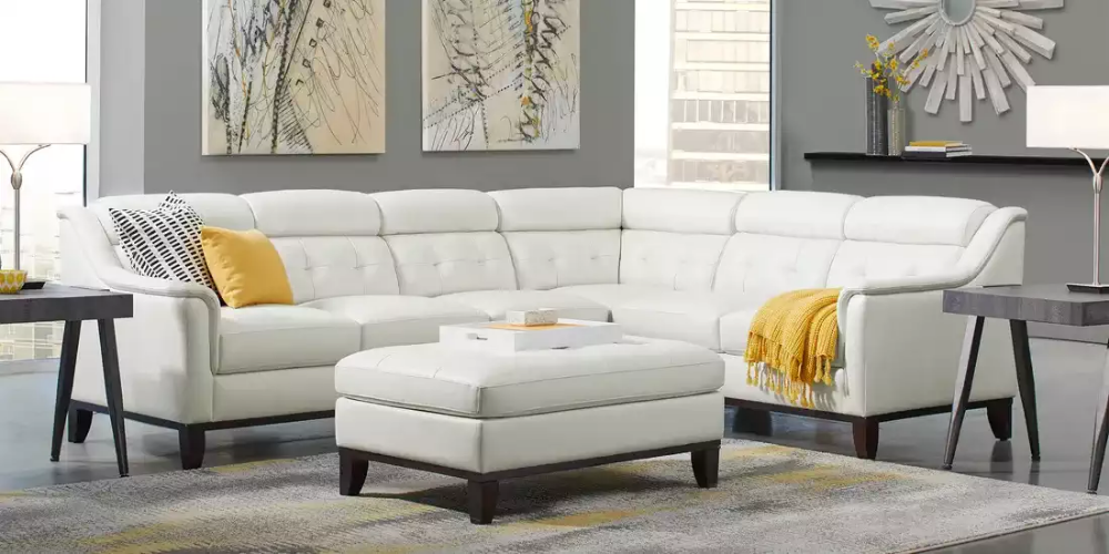 Delmonico Off White Leather 4 Pc Sectional Rooms To Go Living Room Sets Furniture Leather Living Room Set Rooms To Go Furniture