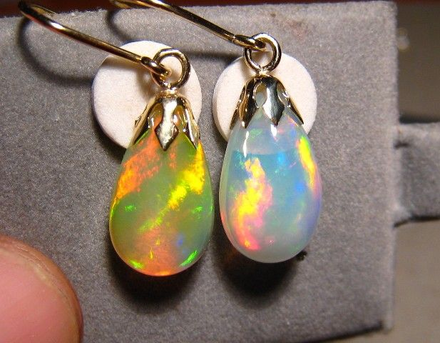 Matching Pair Multi Colors Welo Opal Dangle Earrings 14k Gold