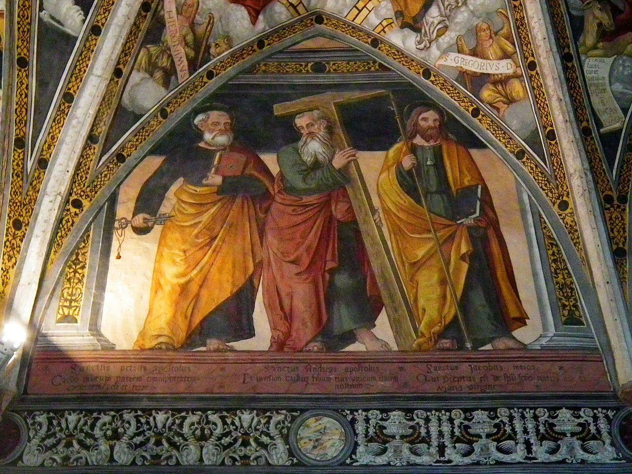 Simone II Baschenis - Tre Apostoli - affresco - 1539 - abside Chiesa di San Vigilio a Pinzolo (Trento, Italia)