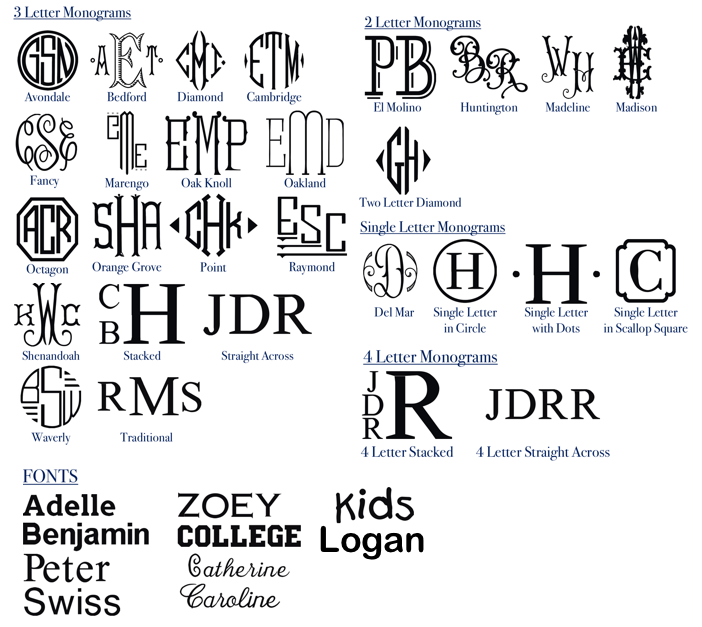 The Monogrammed Home Font Options | Embroidery designs, fonts and