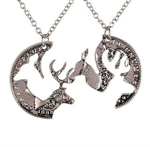 Creativelife Elk Couple Necklace Set Animal Necklace. Elk Couple Pendant Necklace. Quantity:One Pair Necklace. Material: Alloy plating,crystal,Chain:45+5 CM. Halloween decorations, wedding decorations party necessary. Perfect gift for any occasion. for yourself , for others,for your family.