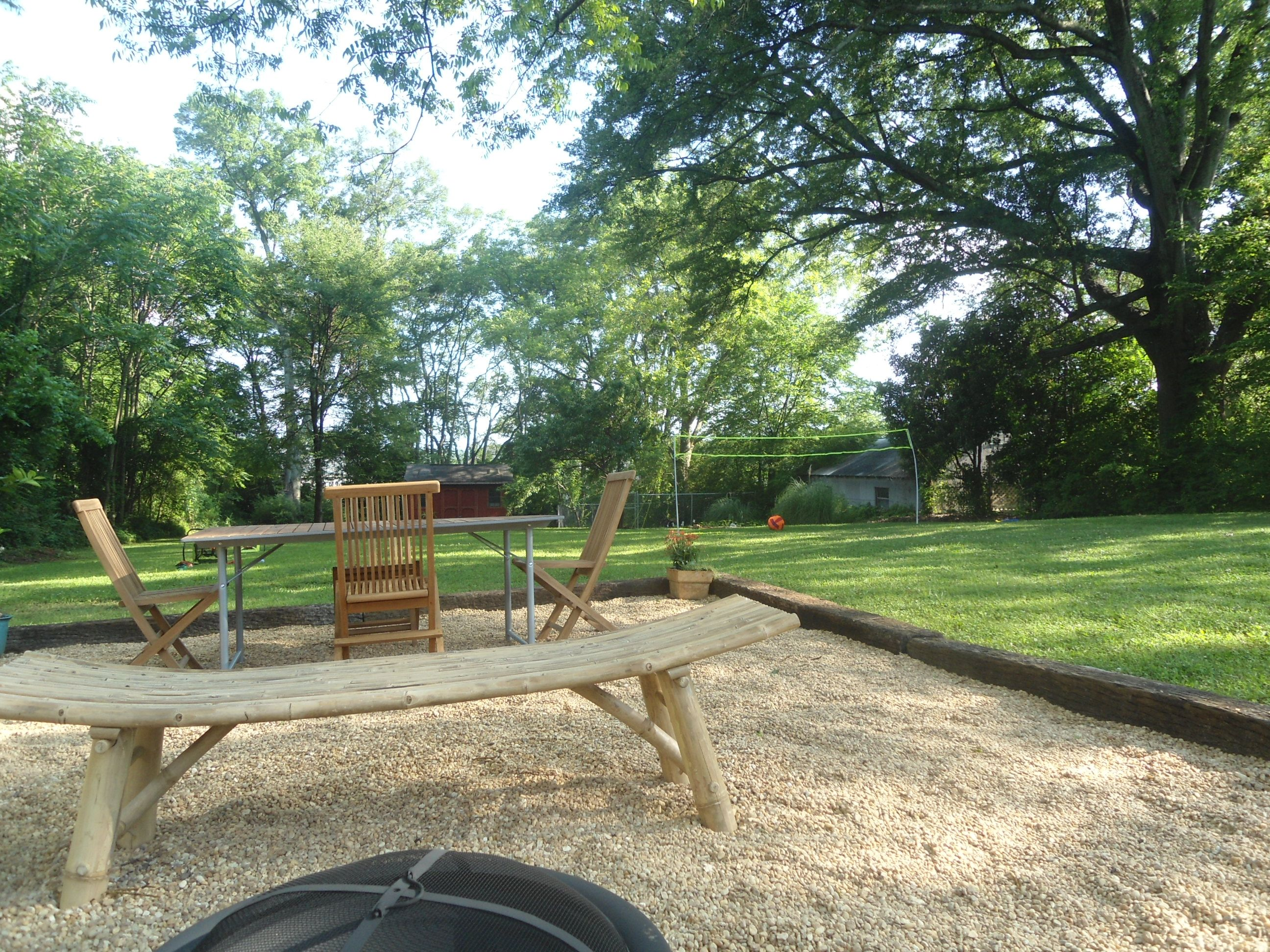 newly installed pea gravel patio area