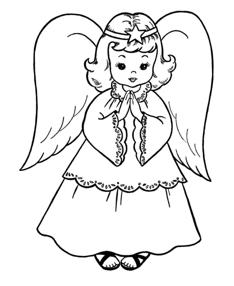 christmas angel coloring pages Christmas Angel   Coloring Pages for Kids and for Adults  christmas angel coloring pages