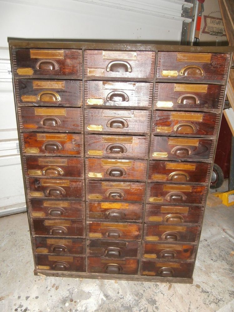 Vintage Antique Steel Cabinet With 30 Wood Drawers