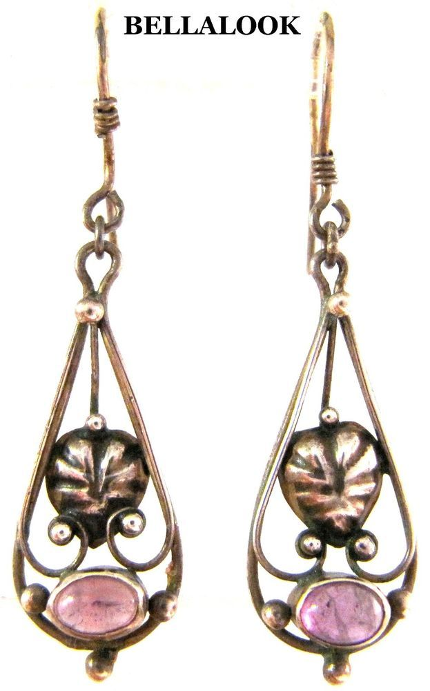 VINTAGE ART NOUVEAU STERLING SILVER AMETHYST CABOCHON LEAF DESIGN DANGLE EARINGS #DropDangle