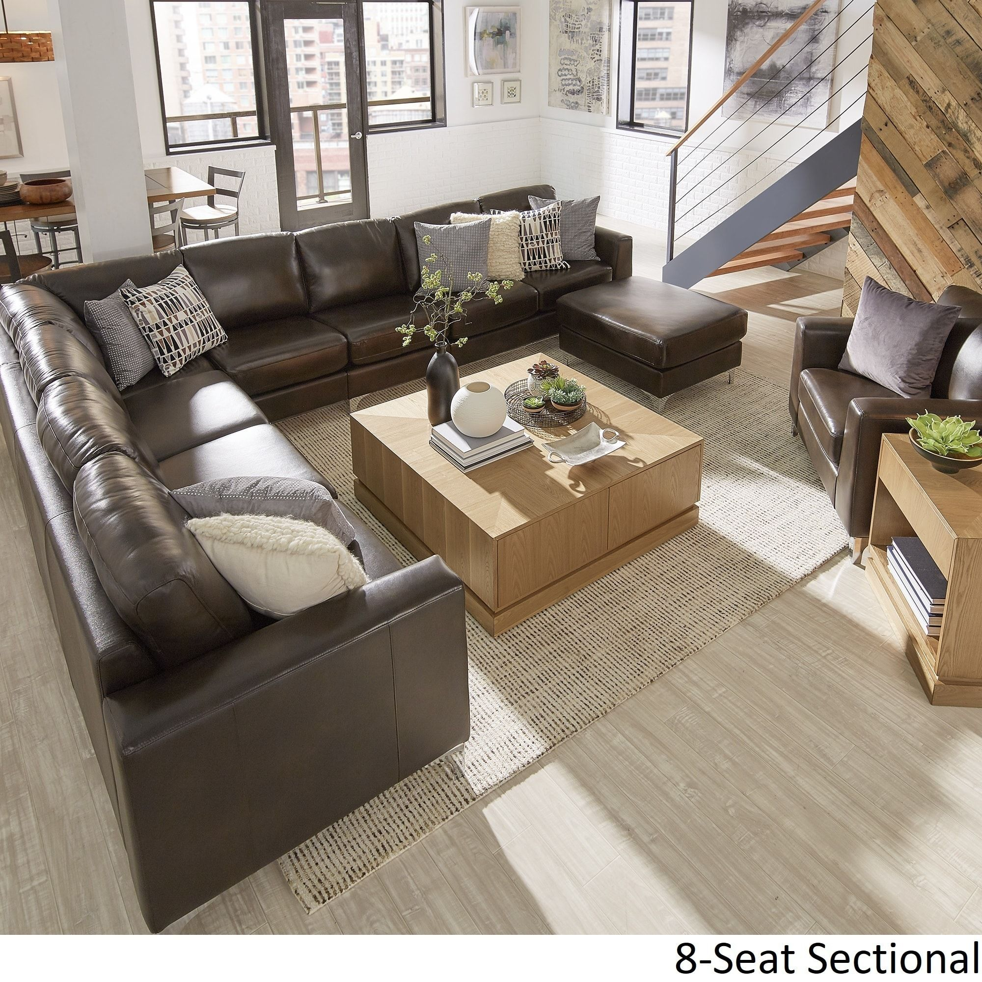 Bastian Aniline Leather Dark Brown L-Shaped Sectionals by ...