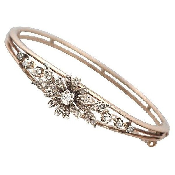 Antique Rose Gold Bangle with Diamonds French 2305 liked on