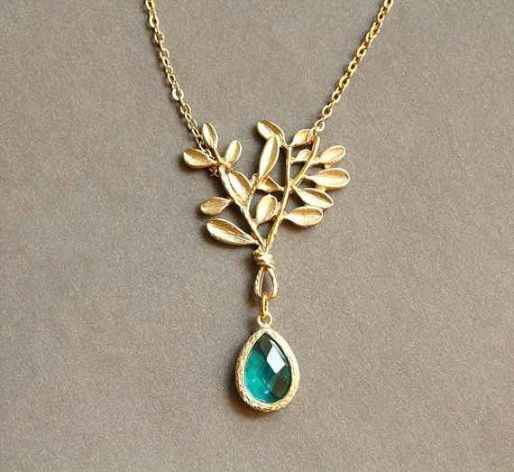 Bouquet Necklace, Leaf and Bezel Necklace, Aqua, Dangle Gemstone Pendant, Bridesmaid Gift
