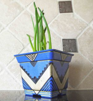 Aztec Gold and Blue Planter
