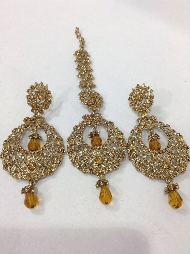 New Bollywood Indian Costume Jewellery Earring Tikka Set Stone Gold Party Wear