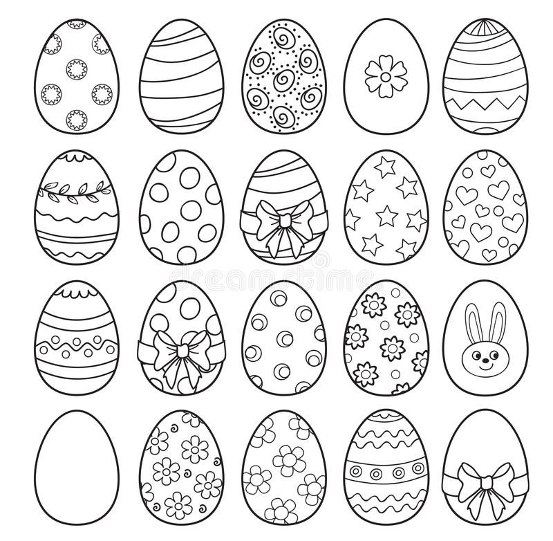 Coloring Book With Easter Eggs - Vector Illustration. Vector Illustration  On Whi , #AFF, #… Easter Coloring Pages, Coloring Easter Eggs, Easter Egg  Coloring Pages