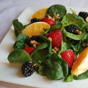 Rainbow Salad - strawberries, blackberries, oranges and walnuts