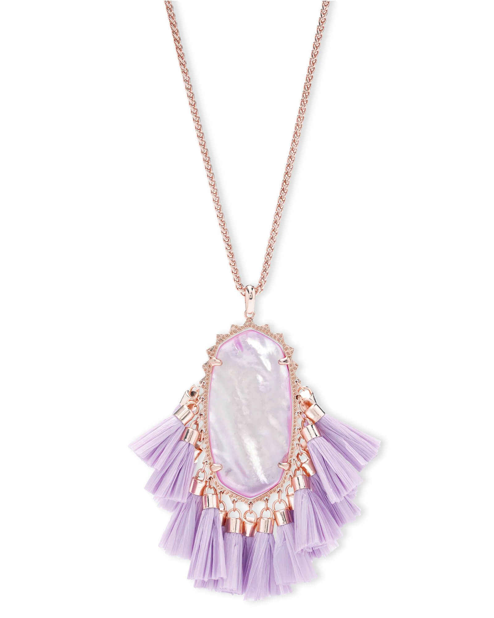 Betsy rose gold long pendant necklace in lilac mother of pearl