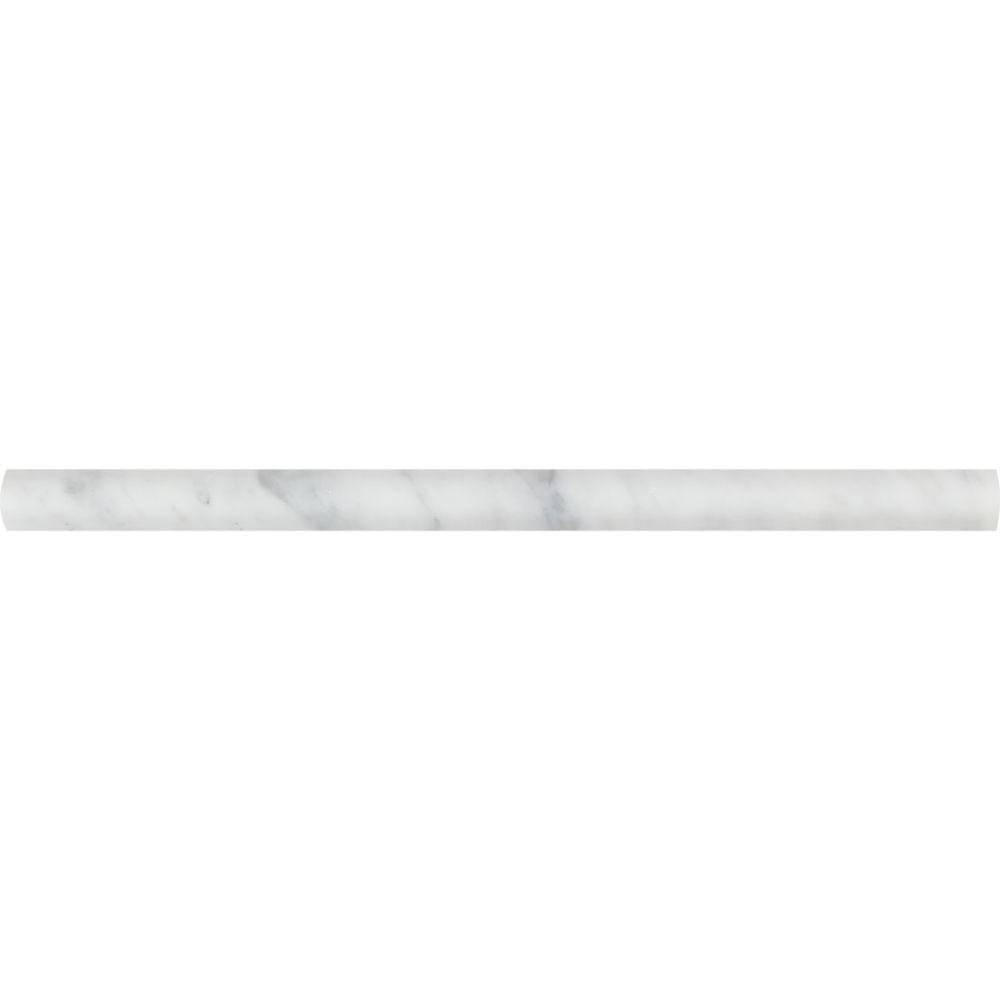 3/4 x 12 Honed Bianco Carrara Marble Bullnose Liner