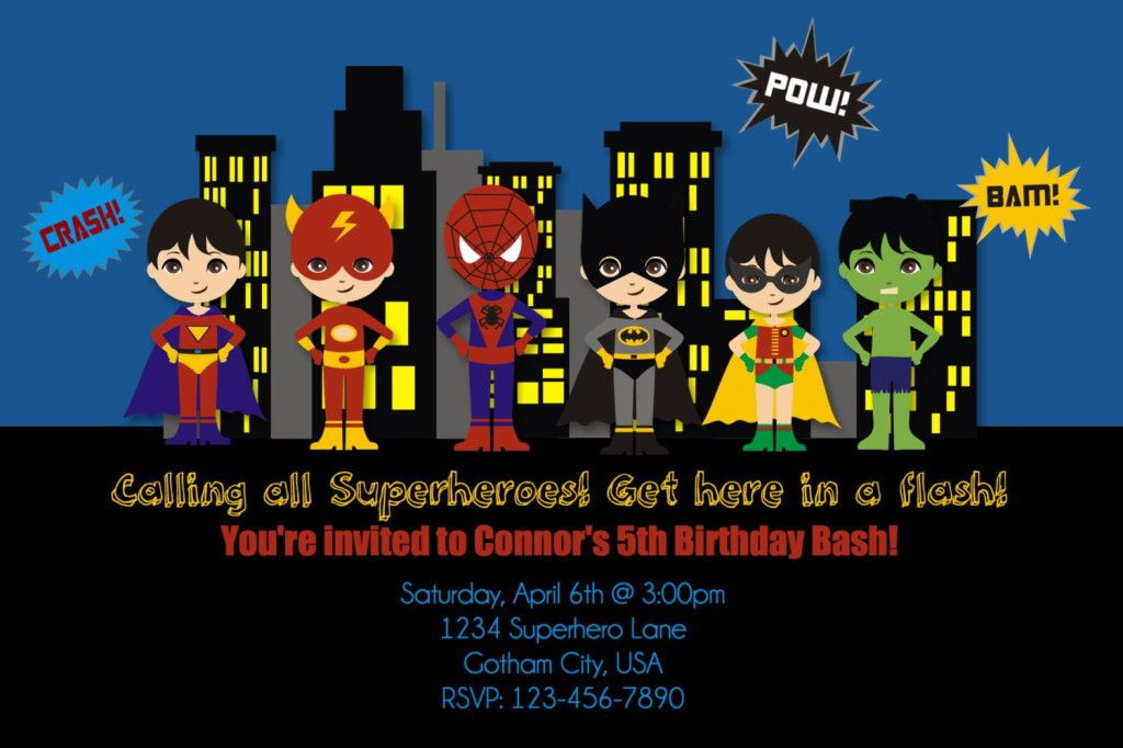 superhero birthday party invitations theruntime, Birthday ...