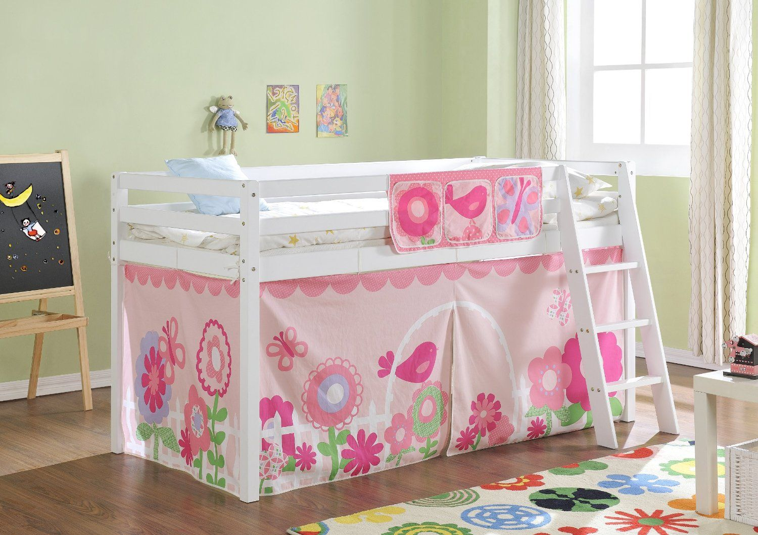 Cabin Bed Mid Sleeper in White with Tent FLORAL 578WG