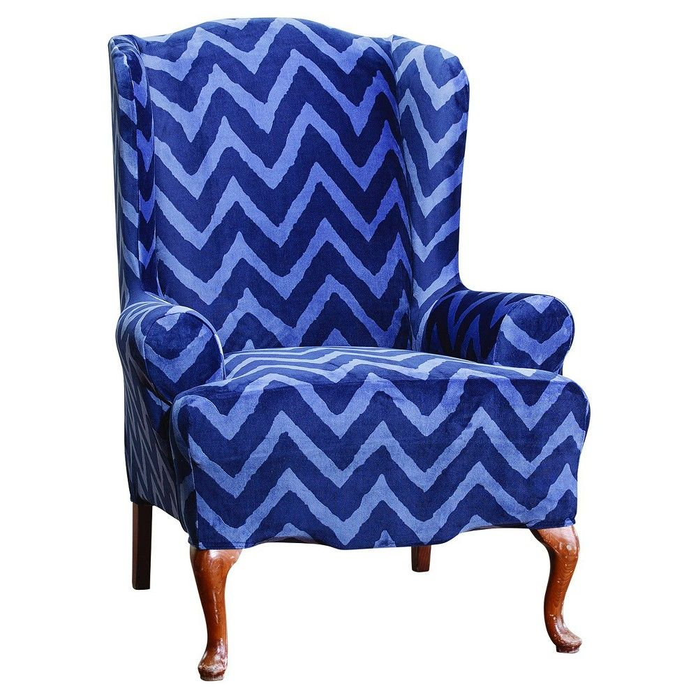 Chevron wing chairs - Stretch Plush Chevron Wing Chair Slipcover Indigo Blue Sure Fit