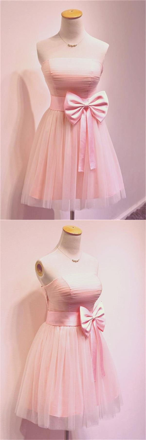Girly simple short pink strapless homecoming dresses pg