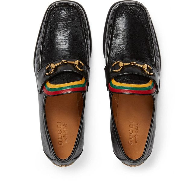 Gucci Rainbow Horsebit Leather Loafer ( 680) ❤ liked on Polyvore featuring men s  fashion d6fcbe6f5b33