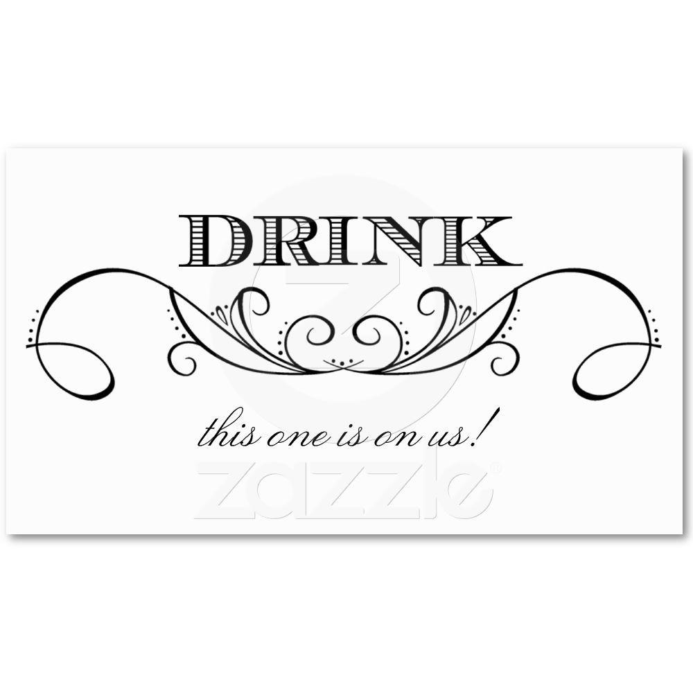 Modern White & Black Swirl Wedding Drink Ticket   Weddings and Wedding
