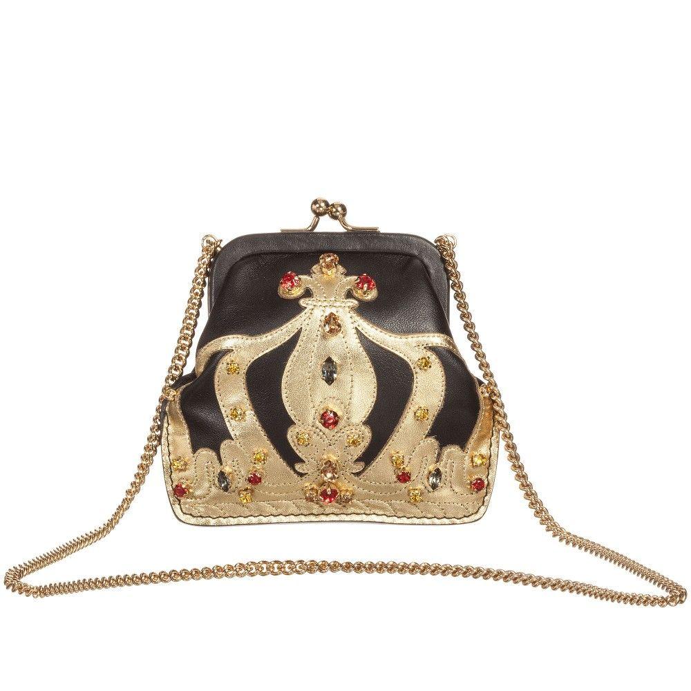 8ffad86f51c6 Dolce   Gabbana Girls Black   Gold  Crown  Leather   Chain Bag (12cm) at  Childrensalon.com