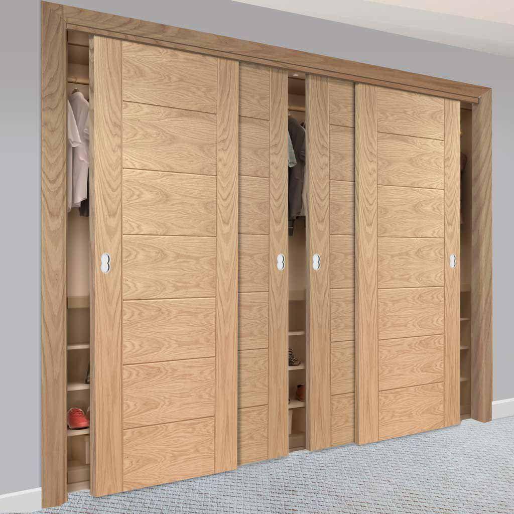 Bespoke Thruslide Palermo Oak 4 Door Wardrobe And Frame Kit