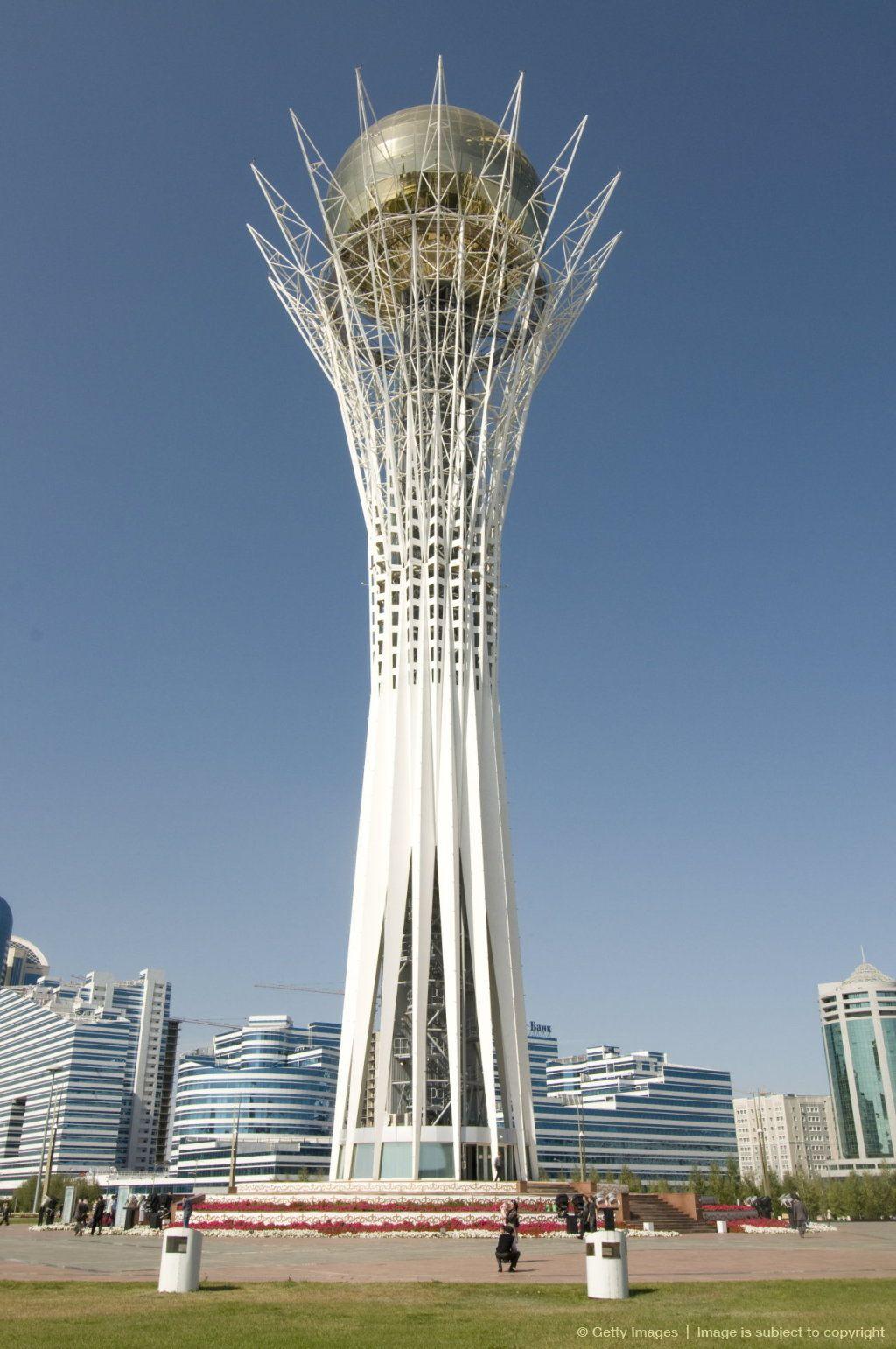 Bayterek tower modern landmark astana kazakhstan for Famous landmarks in