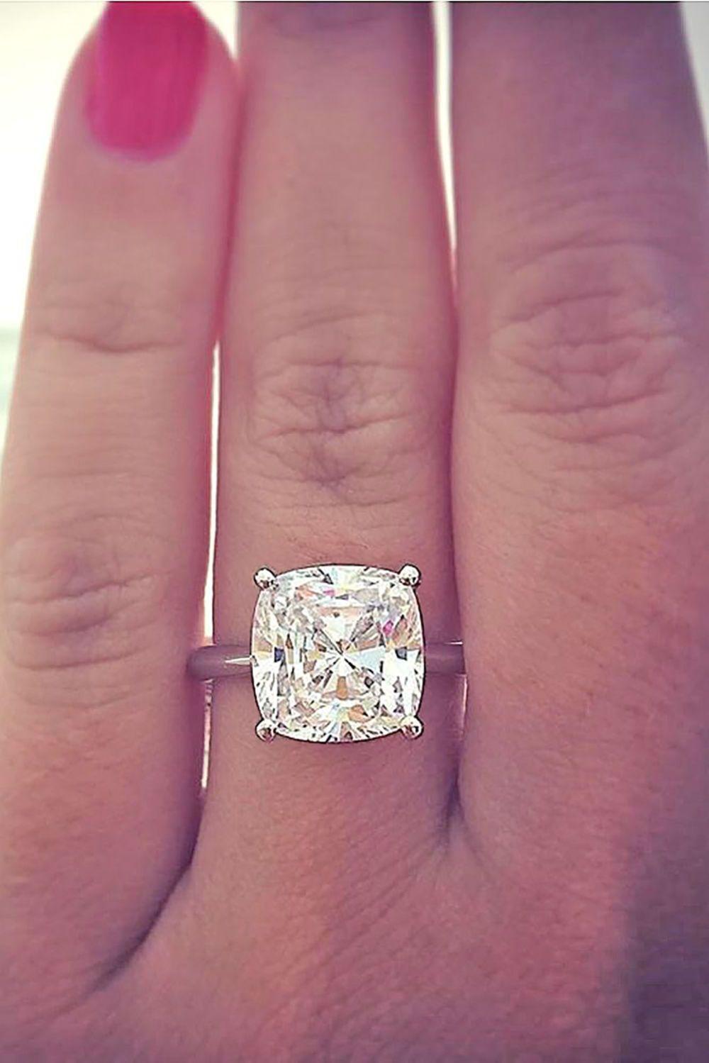 4 Carat Cushion Cut Diamond Engagement Ring Solitaire 14k White Gold ...