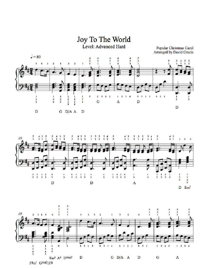 how to play joy to the world piano