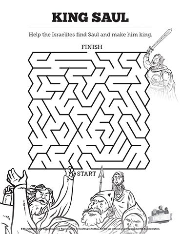 King Saul Bible Mazes: The Israelites clamored for a king, but they'll need to him first. Can you lead God's people through the twists and turns of this King Saul Bible maze? Beautifully designed, fun, and challenging this printable Bible activity is a great resource for your King Saul Sunday school lesson.